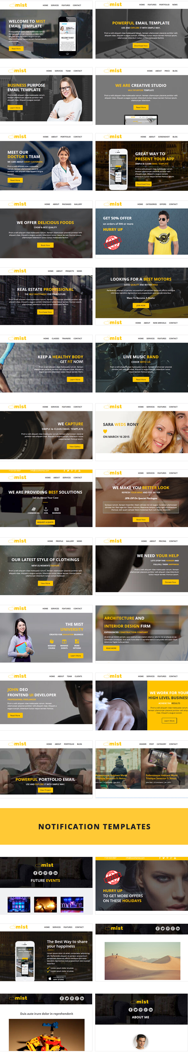 Mist - 30 Business Email Templates + Themebuilder Access