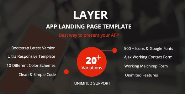 Layer – Responsive App Landing Page
