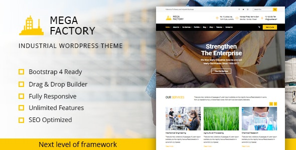 Mega Factory – Industrial WordPress Theme