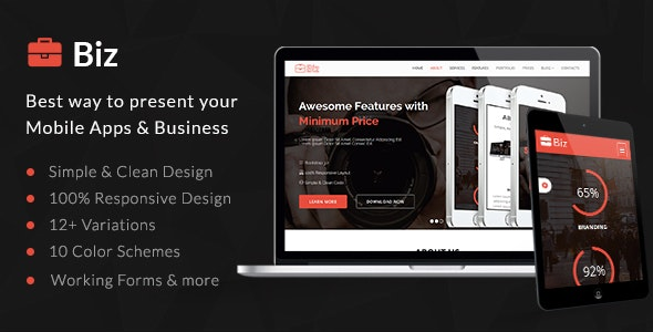 Biz – Business Landing Page HTML5 Template