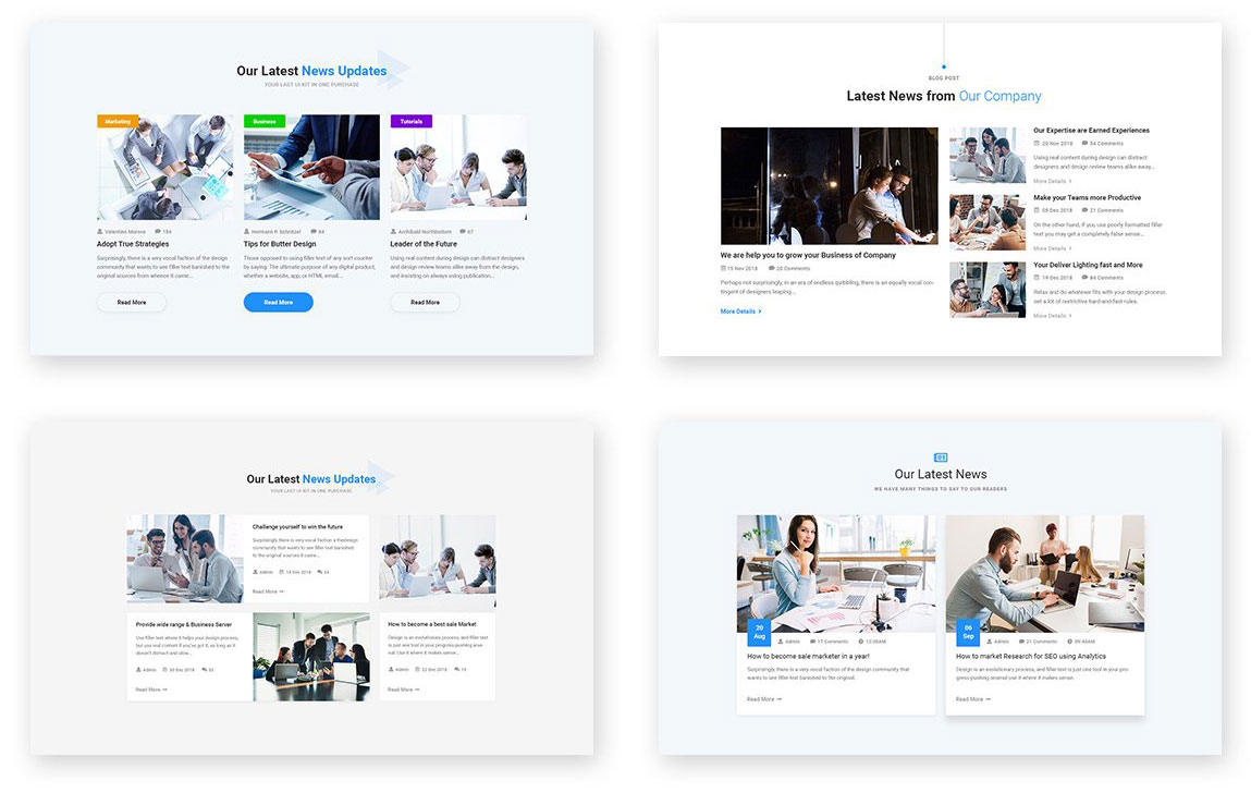Multiple Variations Blog Layouts for Agency & Consulting WordPress Theme