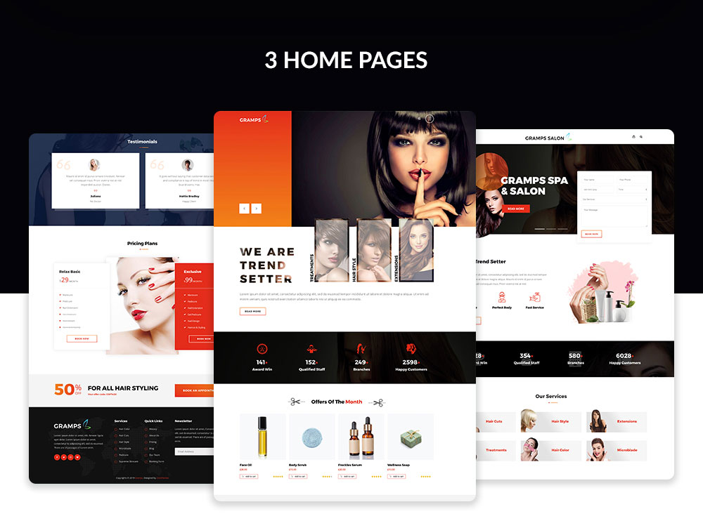Multiple demo pages for Spa & Salon WordPress Theme
