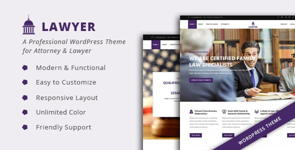 Lawyer – Attorney & Lawfirm WordPress Theme
