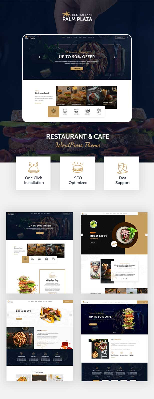 Multiple demo pages for Restaurant WordPress Theme
