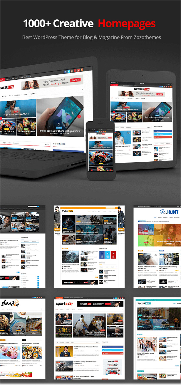 multiple home demos for Magazine WordPress Theme
