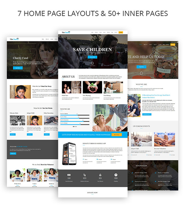Multiple demo Home pages Layouts for Nonprofit WordPress Theme