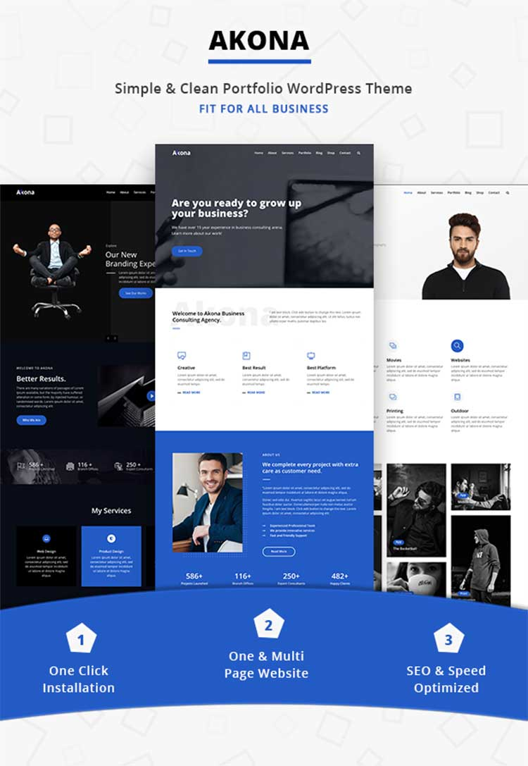 Pre-built Pages for Portfolio WordPress Theme