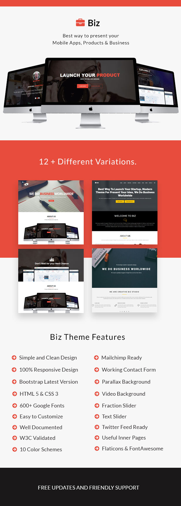 Different home variation demos for Business Landing Page HTML5 Template