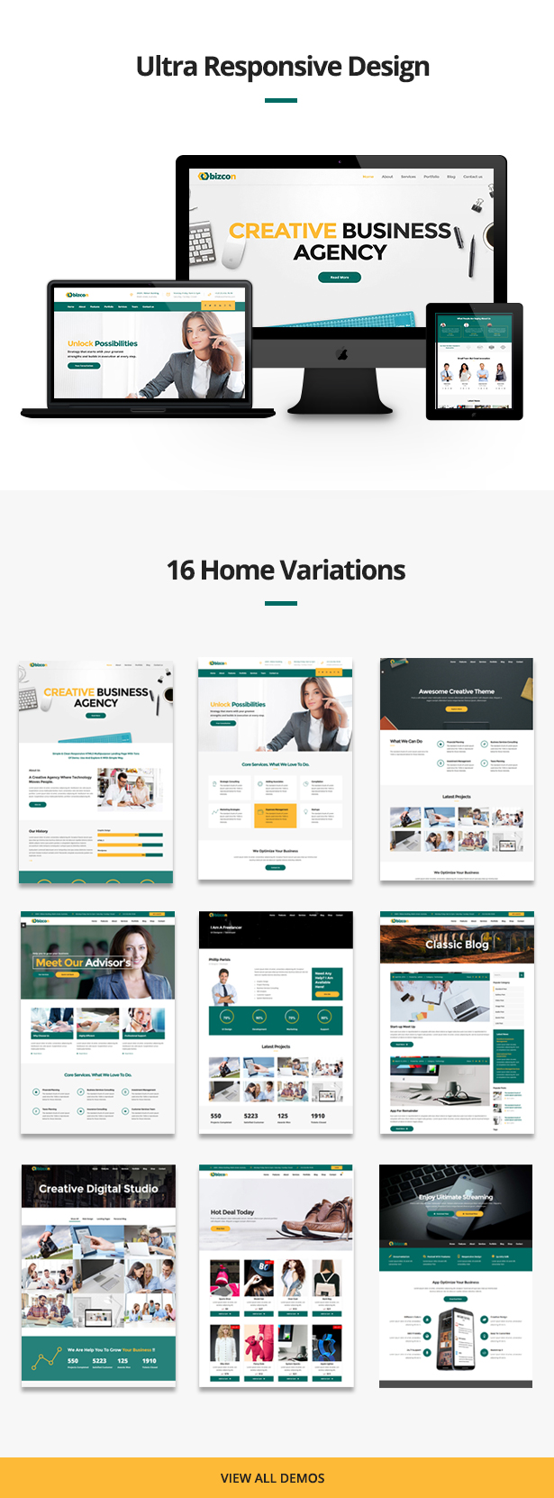 Multiple home veriation for bizcon Multipurpose HTML5 Template