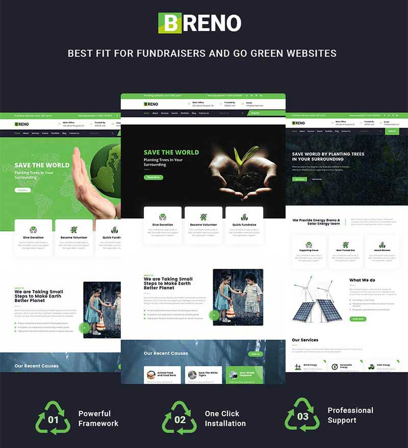 Pre-built Pages for Green Energy WordPress Theme