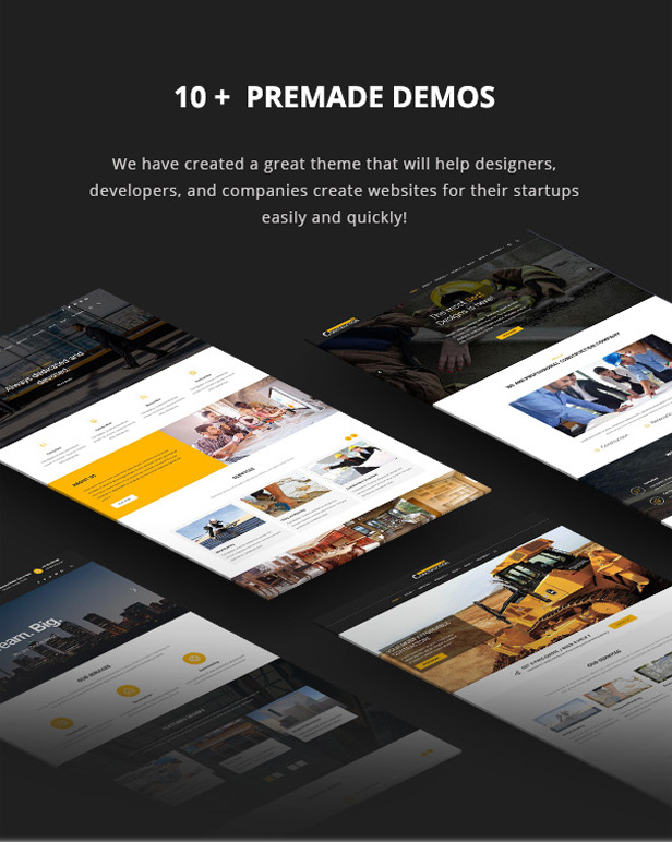 Multiple PreMade demos for Building and Renovation WordPress Theme