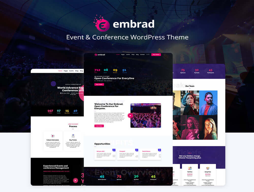 Pre-build pages for Conference WordPress Theme