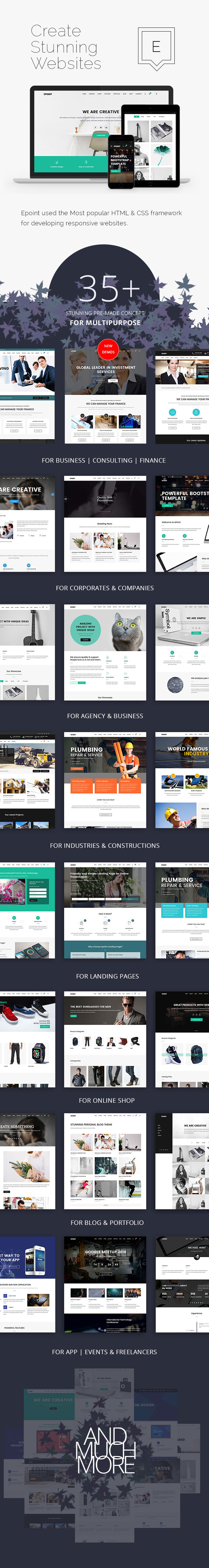 Multiple Home demos for epoint Responsive HTML5 Template