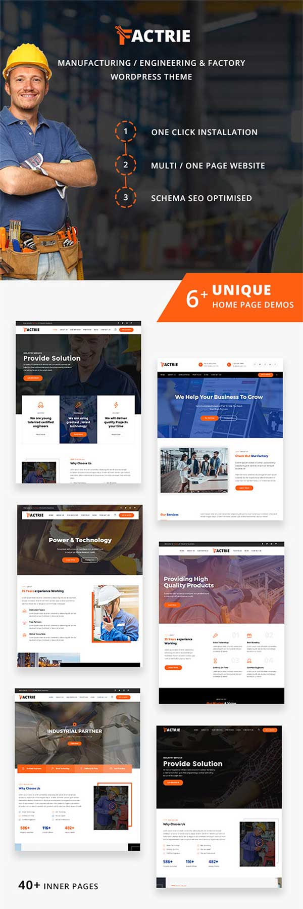 Multiple demo pages for Industrial & Factory WordPress Theme
