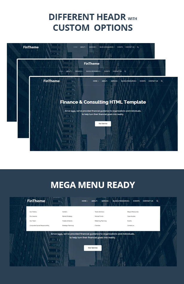 Different Header for finance Consultancy template