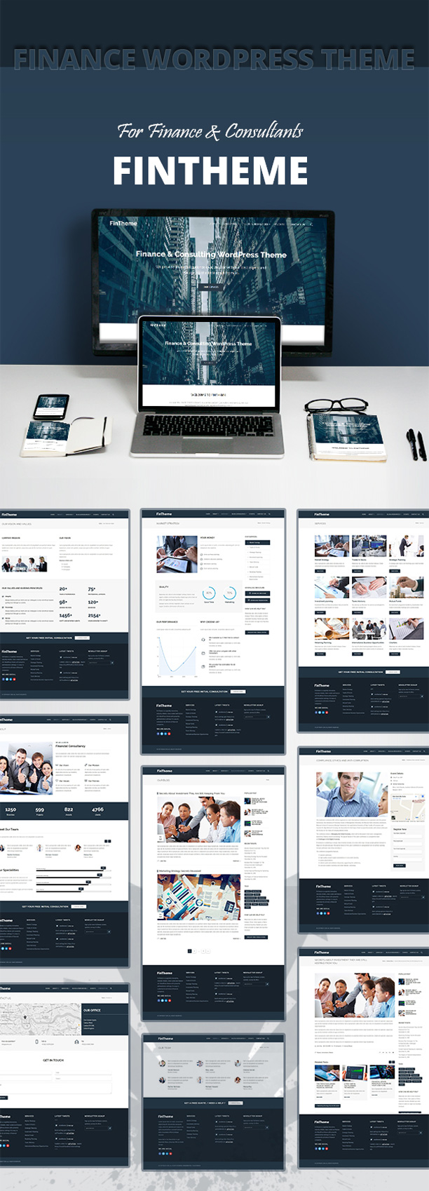 Multiple home demos for Finance & Consultants WordPress Theme