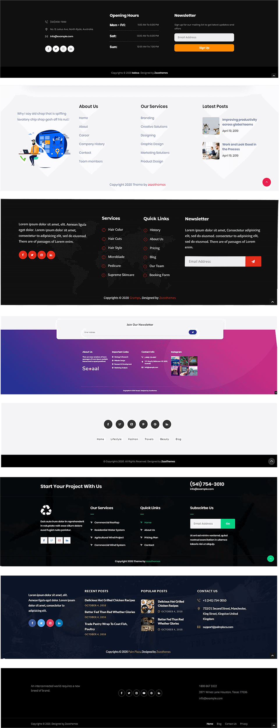 Multiple footer layouts for Digital Marketing WordPress Theme