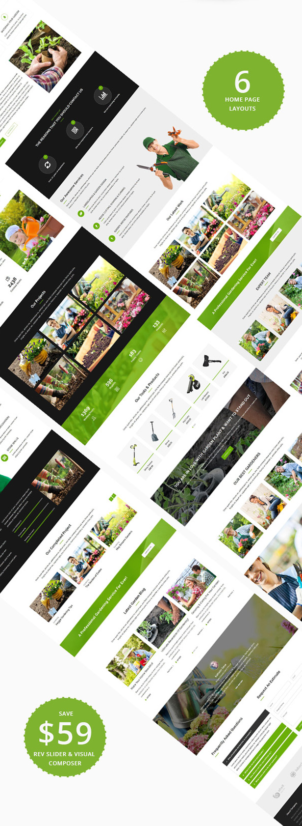 Multiple home demo pages Variation for Lawn Care Landscaping WordPress Theme