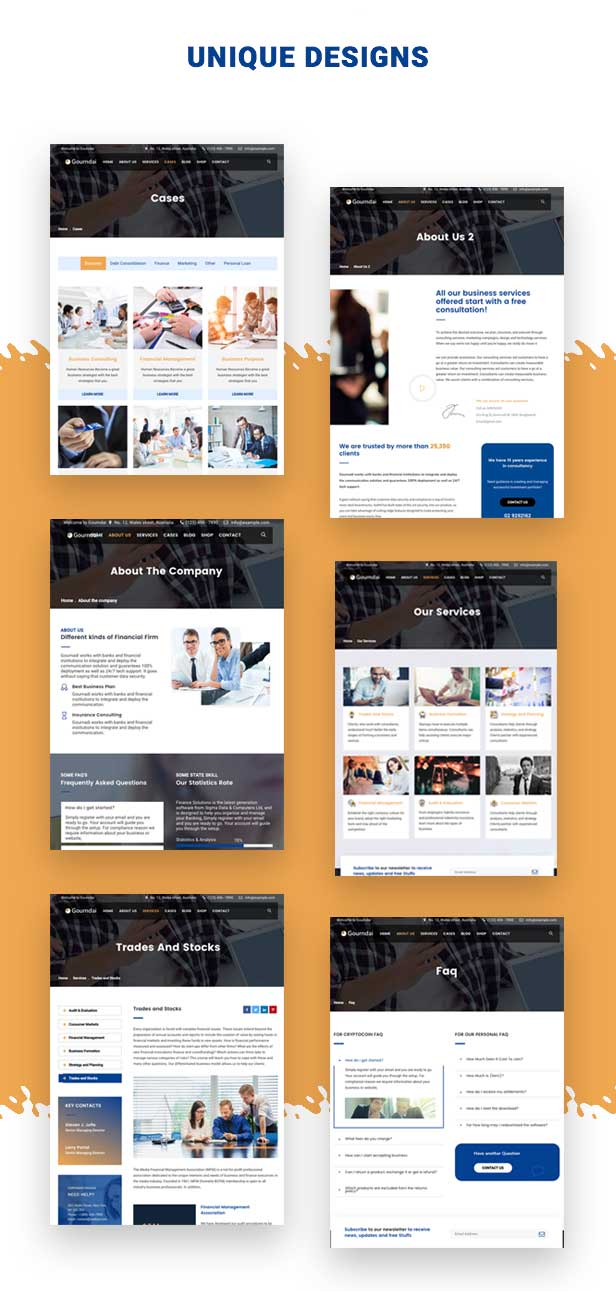Multiple demo pages layouts for Agency & Consulting WordPress Theme