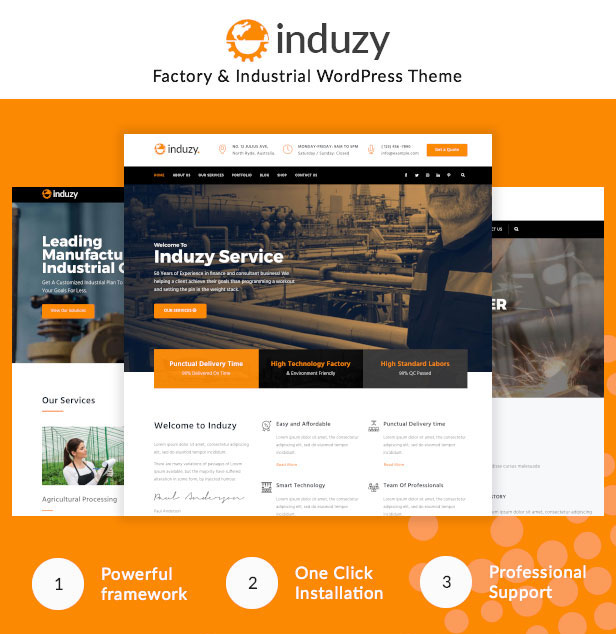 Multiple demo pages for Industrial WordPress Theme