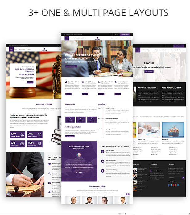 Multiple Demo Pages for Attorney & Lawfirm WordPress Theme