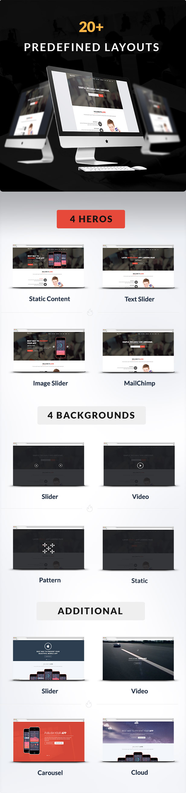 predefined layouts for Layer Responsive App Landing Page