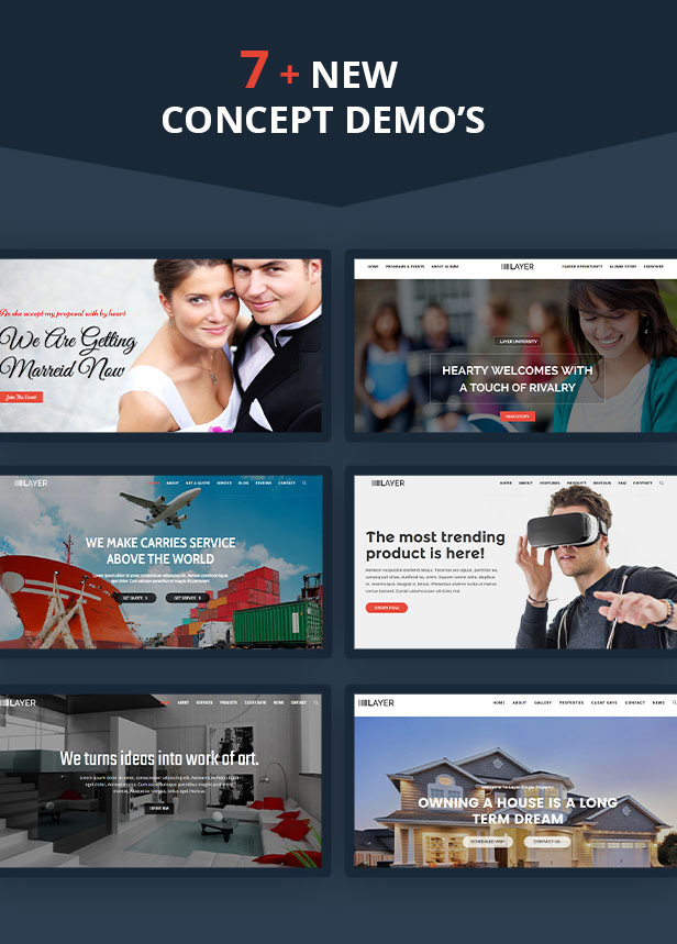 Multiple home demos for Startup Landing Page WordPress Theme