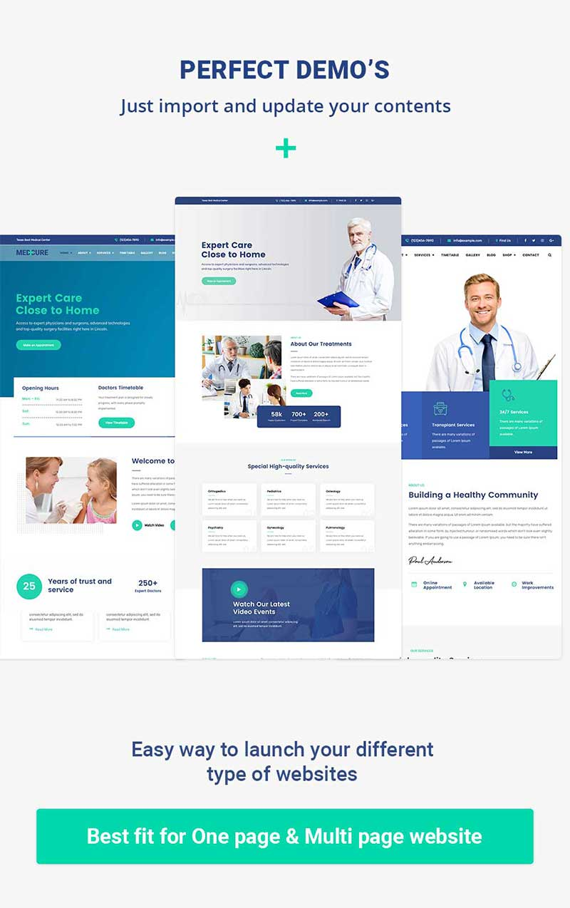 Pre-build pages for Medical Care WordPress Theme