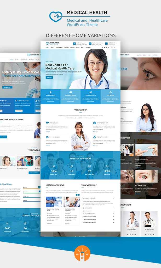 Multiple home Variation demo pages for Healthcare WordPress Theme