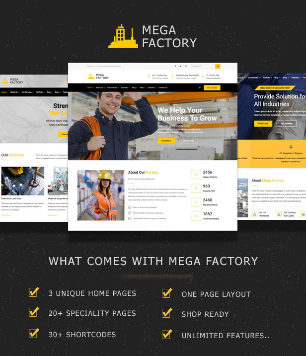 Multiple demo pages for Industrial Business WordPress Theme