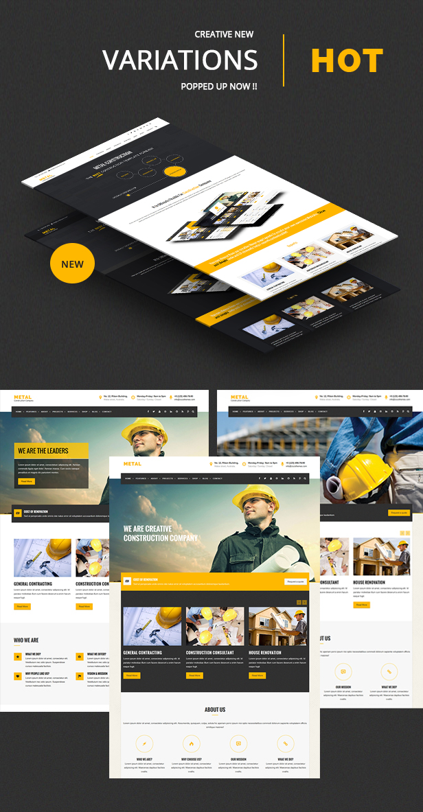 Multiple Home demo veriation for metal Construction Business Template