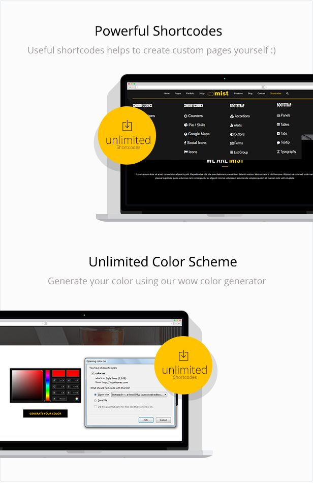 shortcode and unlimated color sheme for mist html template
