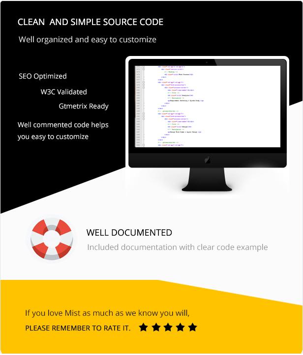simple code image for mist multipurpose html template