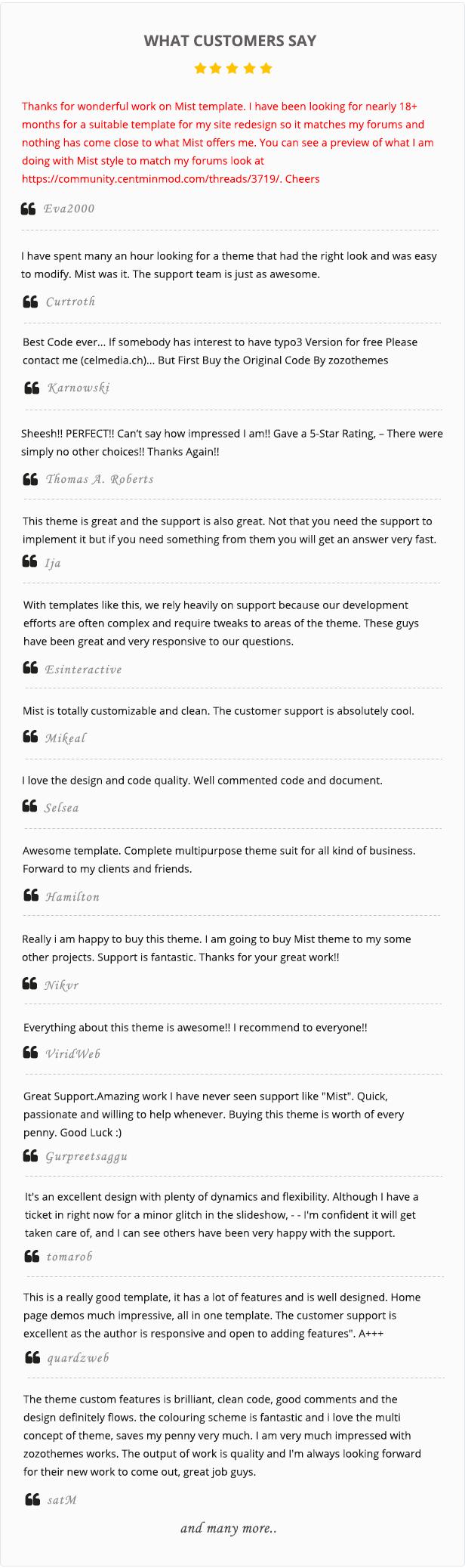 Customer Review image for mist MultiPurpose HTML5 Template