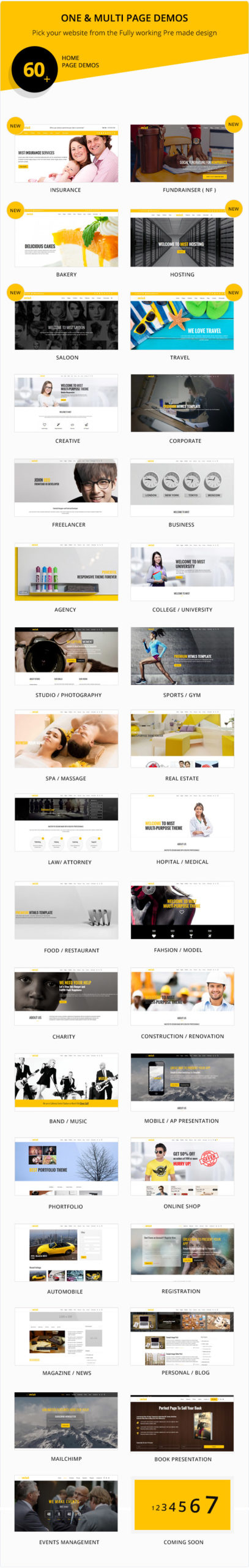 multiple home page demos for mist multipurpose template