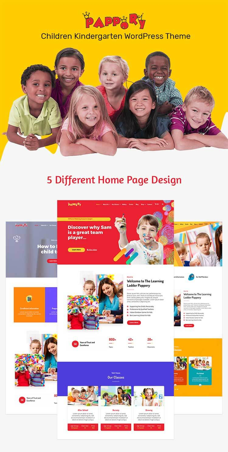Pre-build pages for Kindergarten WordPress Theme