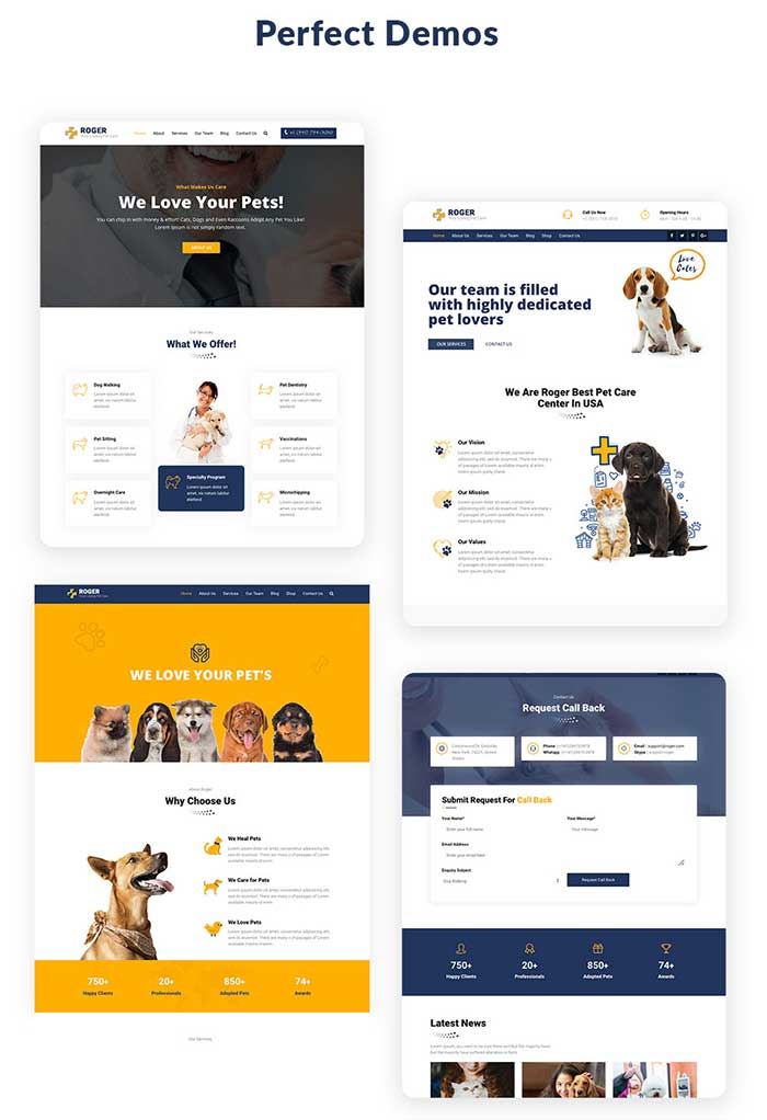 Pre-build pages for Pet Care WordPress Theme