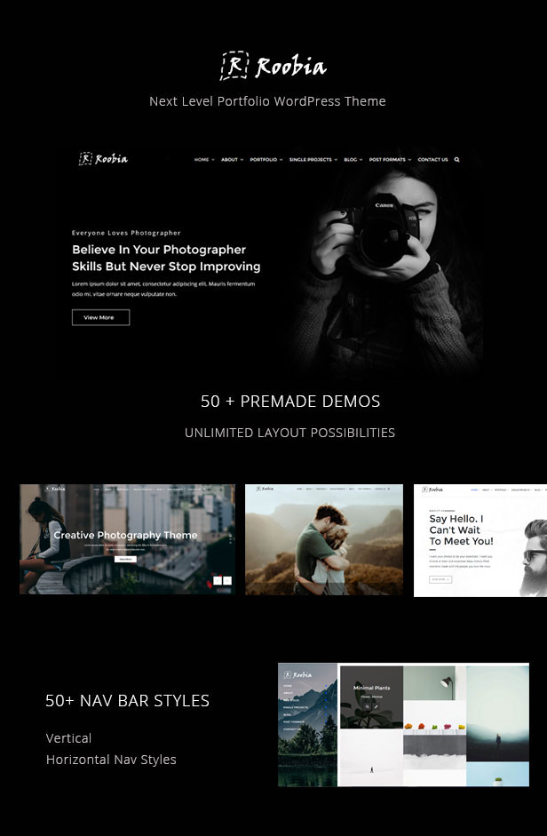 Multiple demo pages for Portfolio WordPress Theme