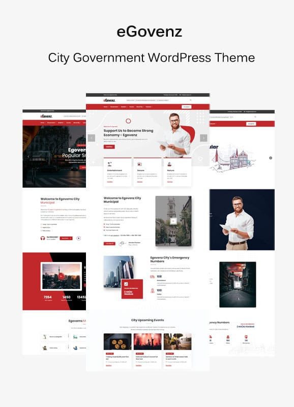 Multiple demo pages for Government WordPress Theme