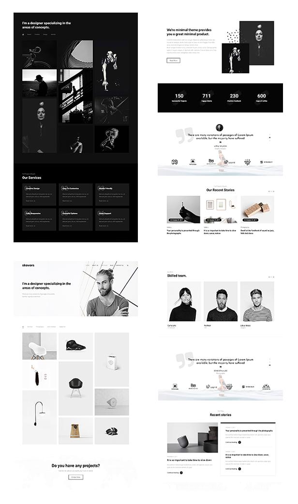 Multiple demo pages for Portfolio WordPress Theme