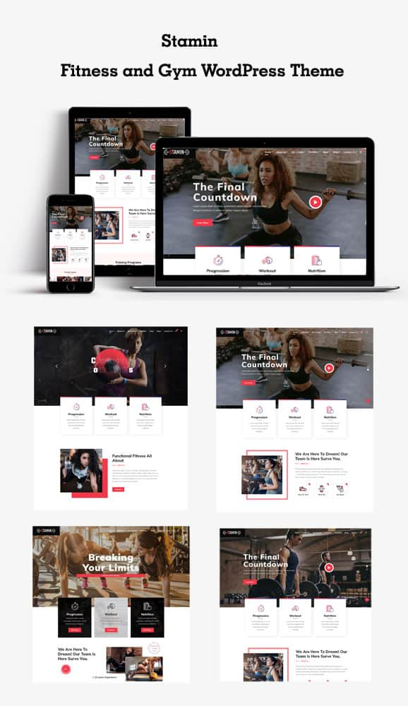 Multiple Home demos for Fitness and Gym WordPress Theme