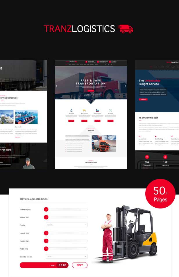 Multiple demo pages for Logistics WordPress Theme