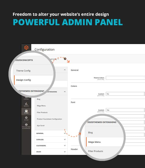Admin panel for Magento Multipurpose Theme