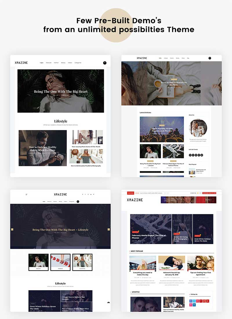Multiple demo pages for Blog & Magazine WordPress Theme