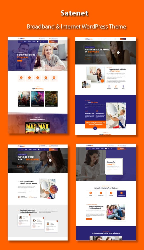 Multiple demo pages for Internet WordPress Theme