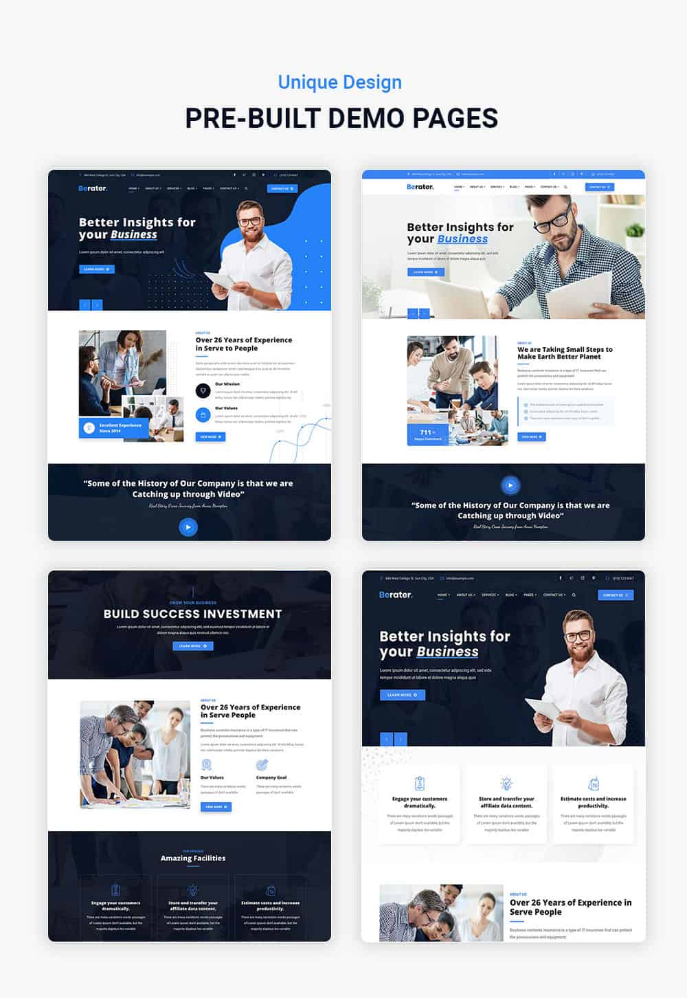 Multiple demo pages for CCTV & Security WordPress Theme